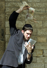 "An ultra-Orthodox Jew swings a rooster over his  head as he performs the Jewish ritual of ""Kaparot"" .."