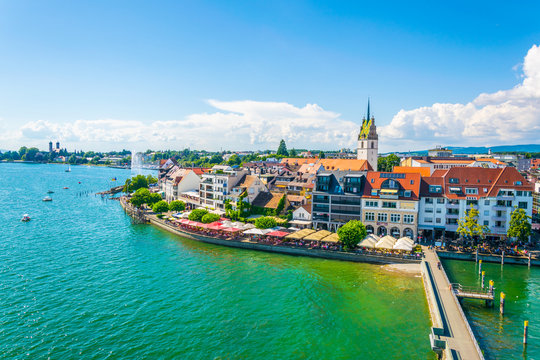 Panorama view of a marina of the german city Friedrichshafen.