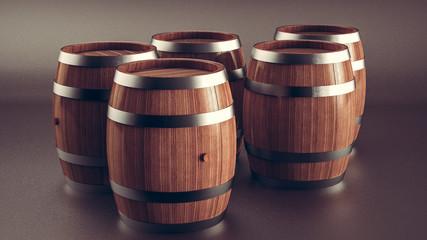 Set of wooden barrels, collection of standing beer, wine and rum wooden barrels.