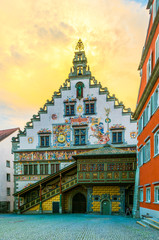 View of decorated townhall in the german city Lindau