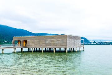 View of a bathing hut near Bregenz, Austria