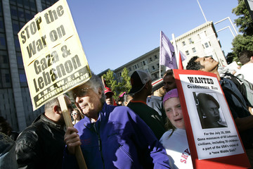Demonstrators protest in San Francisco against Israel's air strikes on Lebanon and the Gaza Strip