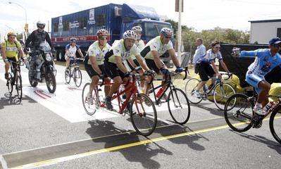 Actor Matt Damon and brother Kyleparticipate in the 2009 Argus Cycle Tour in Cape Town
