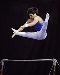Felipe Pina of Chile competes in the High Bar during the International Gymnastics Grand Prix in Glasgow