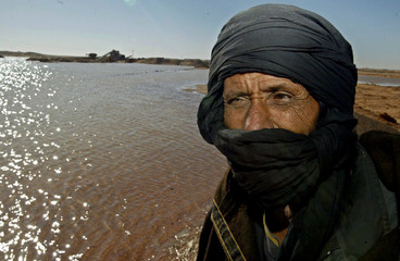 Sahrawi refugee surrounded by flood in Tindouf