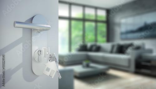offene t r vor stylisher wohnung mit sofa zdj stockowych i obraz w royalty free w fotolia. Black Bedroom Furniture Sets. Home Design Ideas