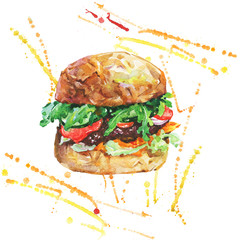 Hand drawn burger with vegetables. Watercolor meet fast food with splashes. Painting isolated summer barbecue illustration on white background