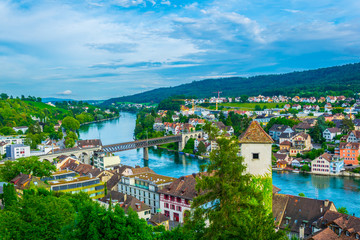 Aerial view of the swiss city schaffhausen and rhein river taken from the top of the munot fortress.