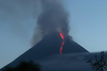 Lava flows from Mount Merapi volcano