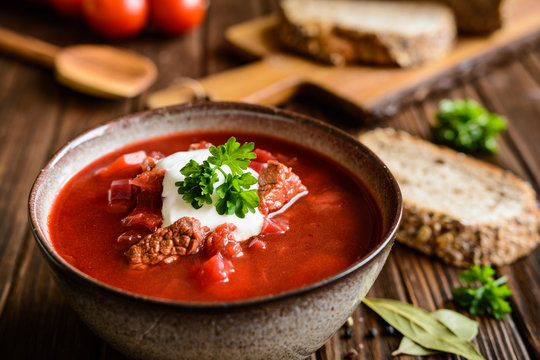 Borscht - traditional Ukraine soup made of beetroot, tomato, cabbage, carrot and beef