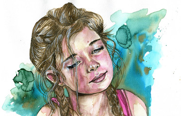 Garden Poster Painterly Inspiration Watercolor portrait of a girl