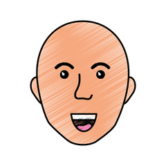 Bald man smiling icon vector illustration graphic design