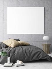 Poster in hipster Bedroom, 3d illustration