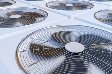 3D rendered illustration of HVAC units (heating, ventilation and air conditioning).