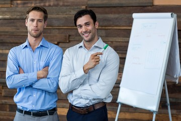 Two male business executives in a meeting