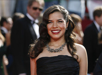 Actress America Ferrera poses at the 60th annual Primetime Emmy Awards in Los Angeles