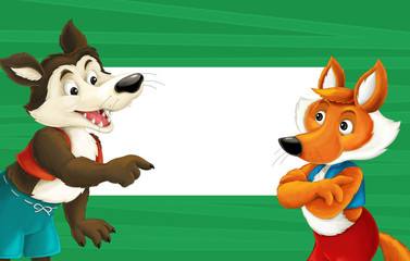 cartoon green frame with happy fox and wolf for different usage space for text