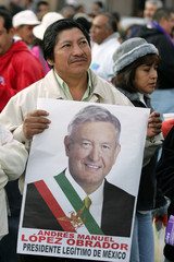 Lopez Obrador supporter attends protest rally in Mexico City