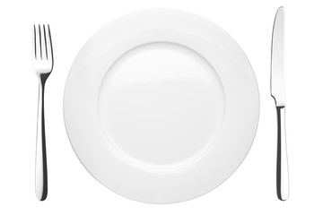 Empty plate, fork, knife, clipping path,