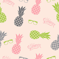 Pineapple Natural Seamless Pattern Background Vector Illustration