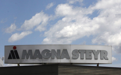 A Magna Steyr logo is pictured in Graz