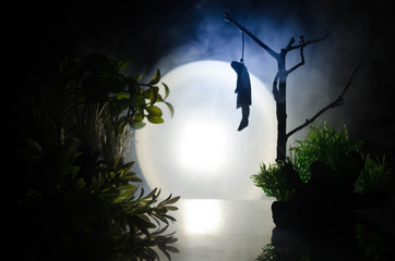 Horror view of hanged girl on tree at evening (at night) Suicide decoration. Death punishment executions or suicide abstract idea.