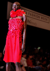 MODEL WEARS DESIGN BY BETTY JACKSON DURING SPRING/SUMMER 2004 SHOW ATLONDON FASHION WEEK.