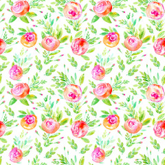 Seamless pattern of a roses.Briar and herbs.Image for fabric, paper and other printing and web projects.Watercolor hand drawn illustration.White background.