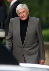 Director Blake Edwards leaves the chapel at Pierce Brothers Westwood Village Memorial Park after the..