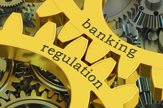 Banking Regulation concept on the gearwheels, 3D rendering