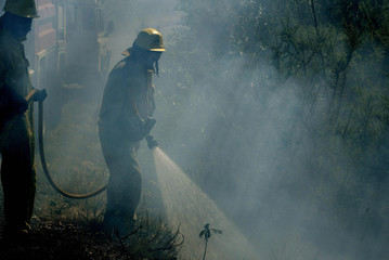 Firefighters try to extinguish forest fire in northwest Spanish town of Caldebarcos.