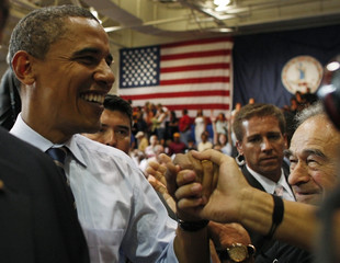 Presidential candidate Senator Obama greets supporters after town hall meeting in Lynchburg