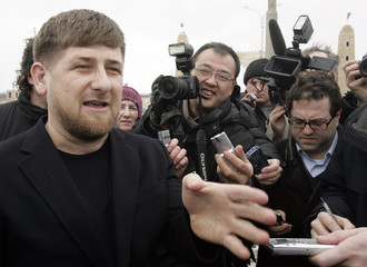 Chechen President Ramzan Kadyrov speaks with the media during their visit to the Chechen capital of Grozny