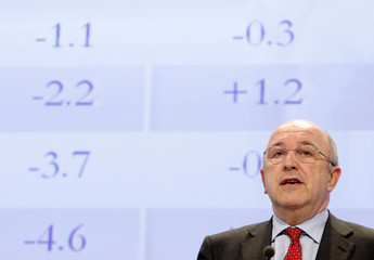 European Economic and Monetary Affairs Commissioner Joaquin Almunia speaks during a news conference in Brussels