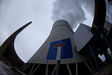 Picture shows cooling tower of lignite-fired power plant Schwarze Pumpe