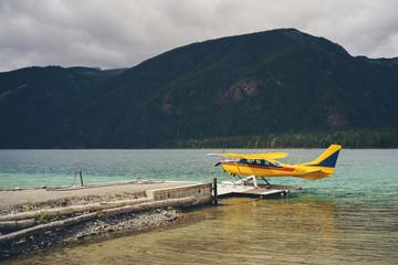 Seaplane on Mountain Lake in British Columbia, Canada