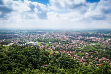 Cityscape from hill in Serbia. Hroeizontal image.