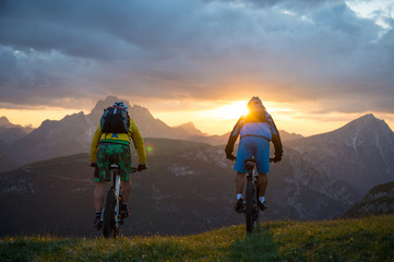 mountainbike trip in the evening