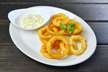 Homemade Fried Onion Rings with sauce on a plate