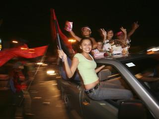 Supporters of Sandinista leader Ortega celebrate in Managua