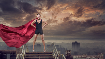 Super woman with red cape