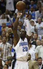 Magic's Pietrus shoots in the second quarter against the Cavaliers during Game 6 of their Eastern Conference finals NBA basketball playoff series in Orlando