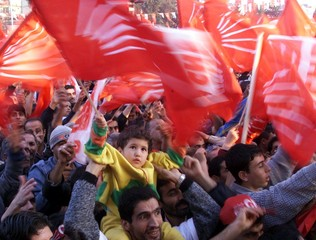 TURKISH SUPPORTERS OF REPUBLICAN PEOPLE'S PARTY WAVE FLAGS DURINGCAMPAIGN RALLY IN ISTANBUL.