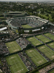 A aerial view shows the All England Lawn Tennis Club in London