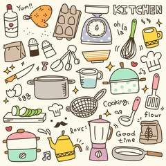 Set of Cute Kitchen Spices and Utensils Doodle