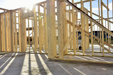 residential wood frame home under construction.