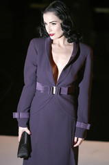 U.S. burlesque artiste Dita Von Teese arrives to attend Italian designer Valentino's Spring-Summer 2007 Haute Couture fashion collection show in Paris