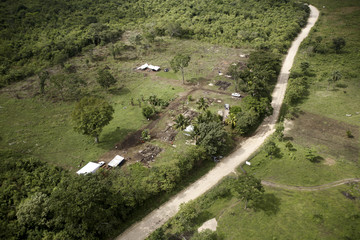 House structures under construction are seen in this aerial picture near the border with Belize