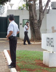 SECURITY FORCES PATROL OUTSIDE EVACUATED ISRAELI EMBASSY IN BRAZIL.