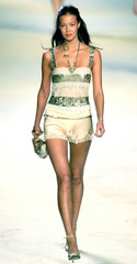 A model presents a creation as part of Blugirl Spring/Summer 2005 women's collection during Milan fa..